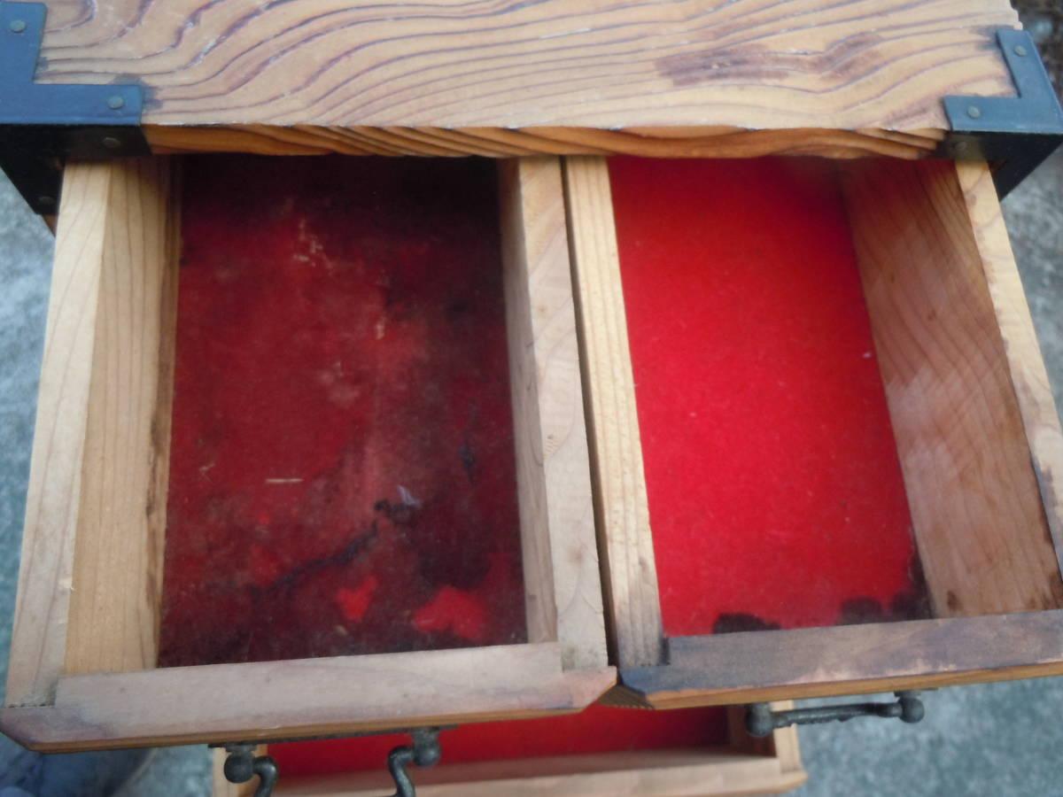 【20M09】昭和レトロ 杉 焼杉 小物入れ  整理箱  小物収納 抽斗 引き出し 【幅24㎝×奥20cm×高さ28㎝】_画像5