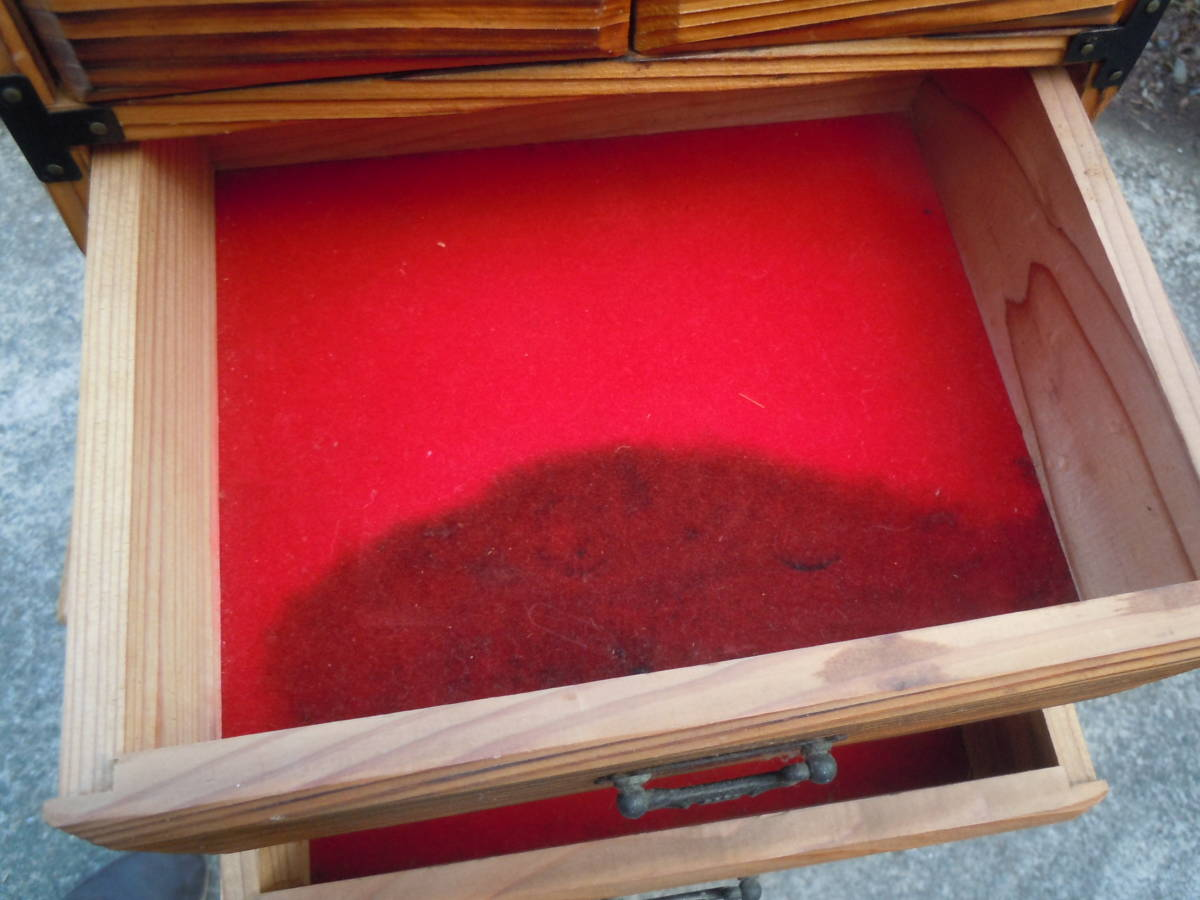 【20M09】昭和レトロ 杉 焼杉 小物入れ  整理箱  小物収納 抽斗 引き出し 【幅24㎝×奥20cm×高さ28㎝】_画像6