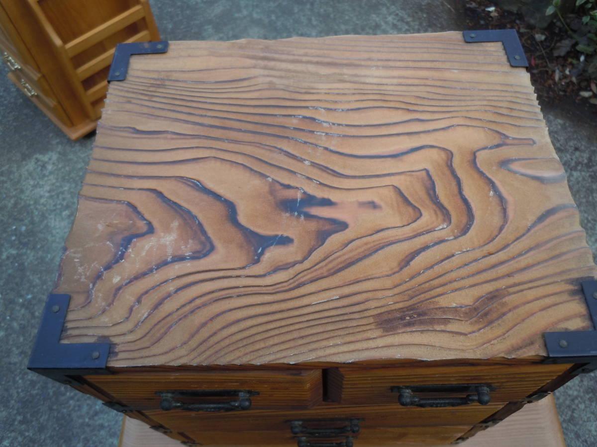 【20M09】昭和レトロ 杉 焼杉 小物入れ  整理箱  小物収納 抽斗 引き出し 【幅24㎝×奥20cm×高さ28㎝】_画像4