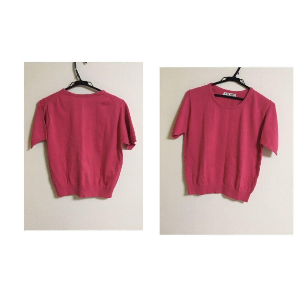 ピンク カットソー ピンク 半袖 スプリングニット 顔色良く白く見える 細く見える お洒落 フェミニン 新品未使用品