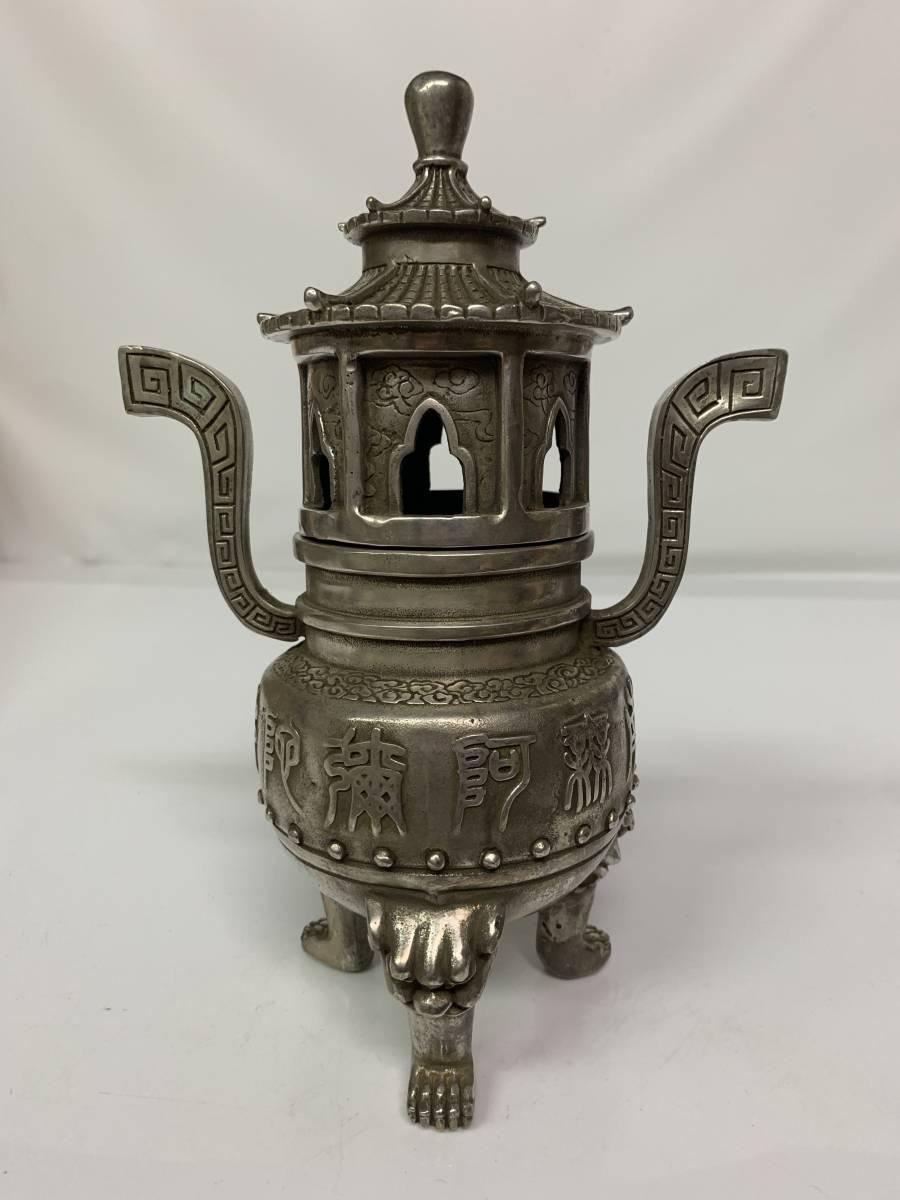 中国/乾隆年製 白銅製 塔形 三脚 香炉_画像1