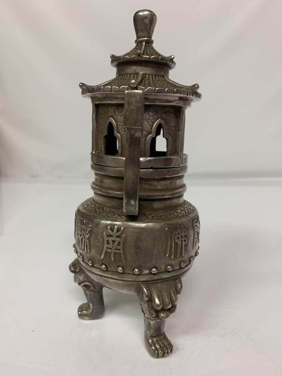 中国/乾隆年製 白銅製 塔形 三脚 香炉_画像2