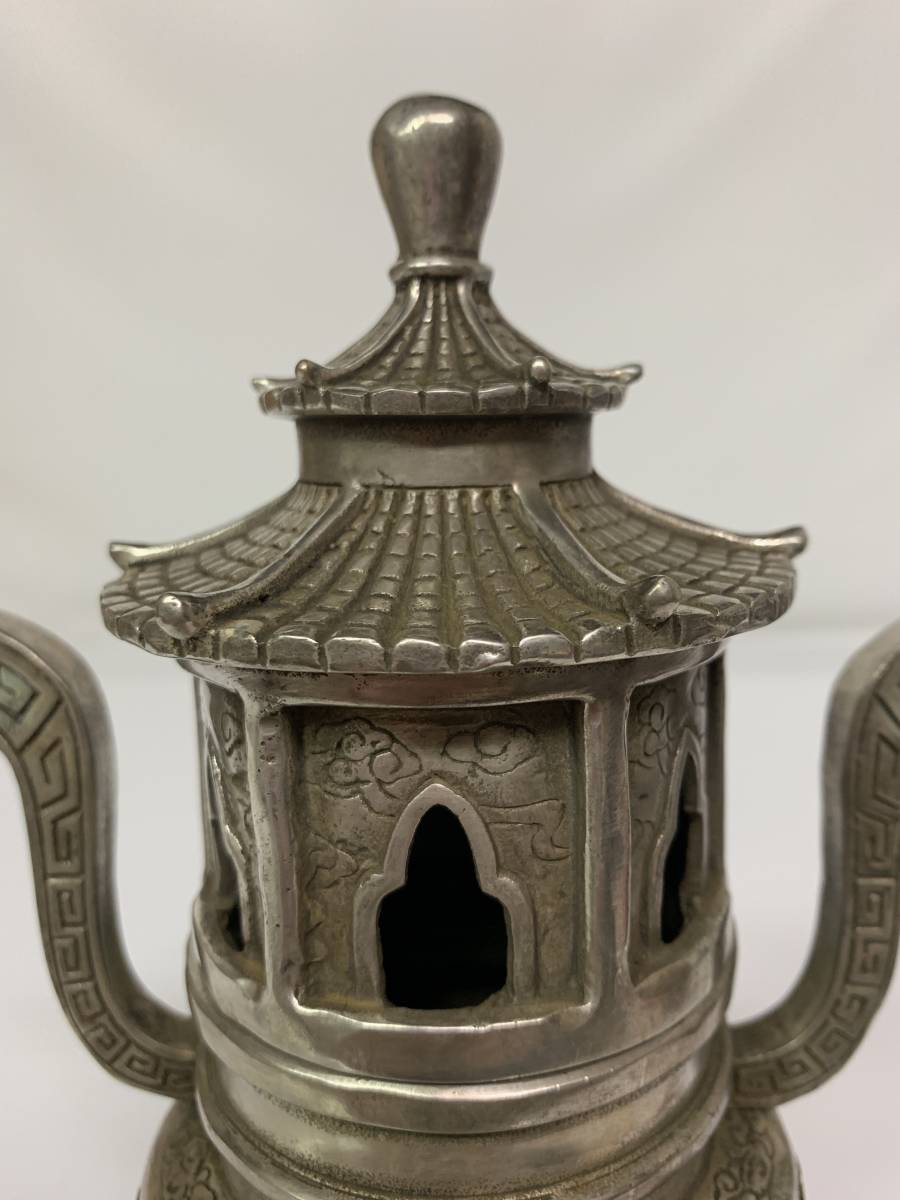 中国/乾隆年製 白銅製 塔形 三脚 香炉_画像5