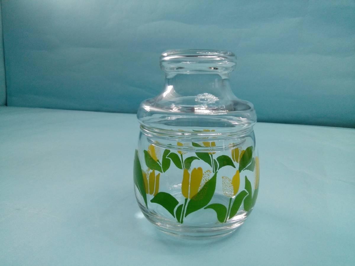 レトロポップ ガラス製 キャンディーポット キャニスター チュウリップ花柄_画像2