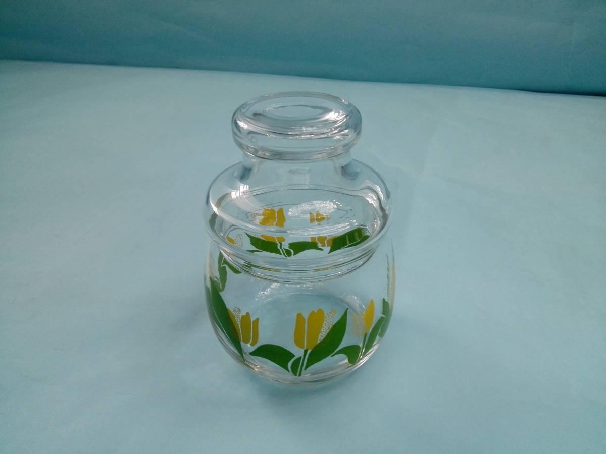 レトロポップ ガラス製 キャンディーポット キャニスター チュウリップ花柄_画像3