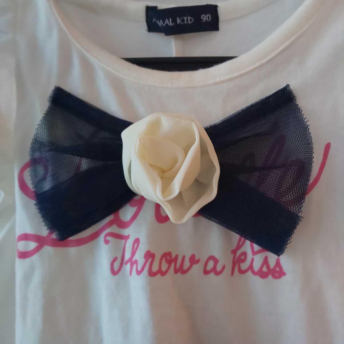 ワンコイン 送料無料 90cm ノースリーブチュニック 半袖Tシャツ ワンピース キッズ服 女の子 ひらひら リボン 可愛い 夏服 yuzu10sogo03