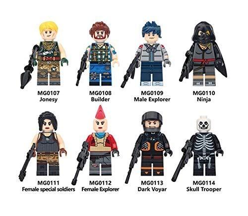LEGO レゴ 互換 MOC ブロック TPS フォートナイト風 カスタム ミニフィグ 8体セット 武器・装備・兵器付き C!送料無料!_画像1