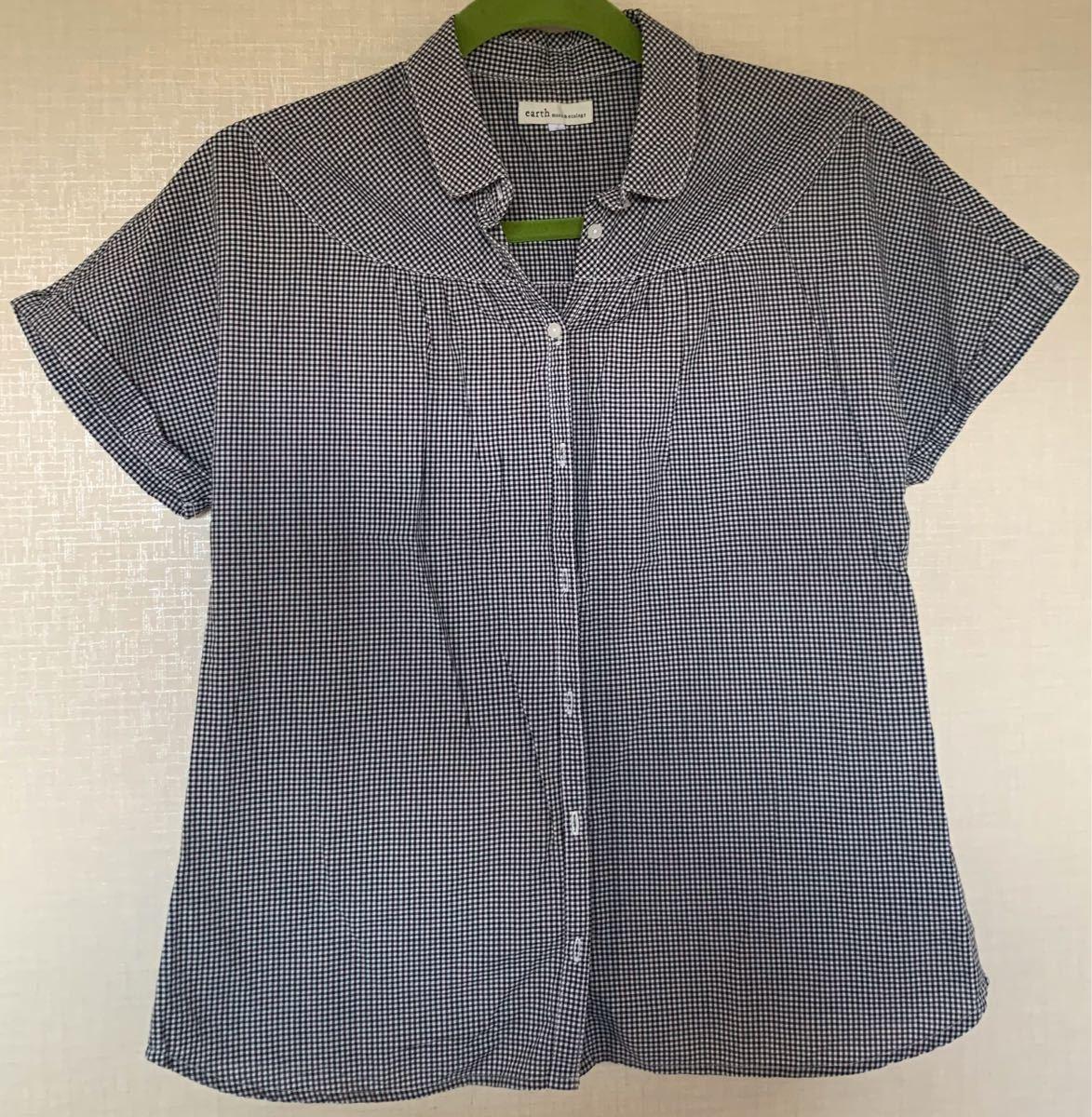 ブラウス  半袖シャツ チェックシャツ