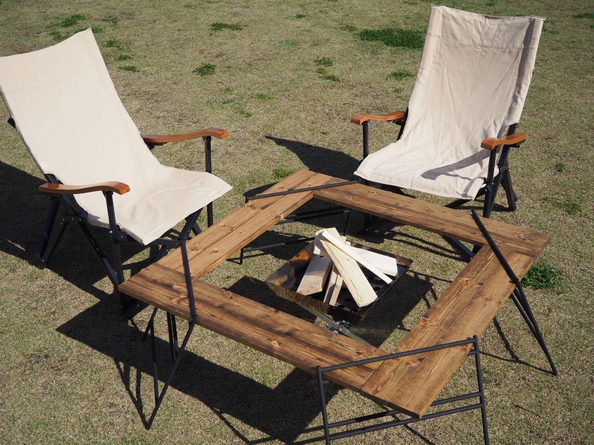 囲炉裏テーブル 折りたたみ焚き火テーブル キャンプやバーベキューなどアウトドアに