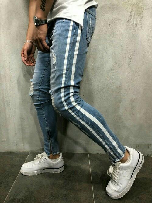 Lサイズ メンズ脇ライン入りダメージデニムスキニーパンツ/カットオフジーンズ