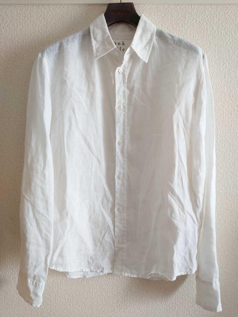 美品★送料無料 XSサイズ Frank & Eileen リネン 麻100% ドレスシャツ 白 長袖シャツ ボタンダウンシャツ usa製 フランクアンドアイリーン