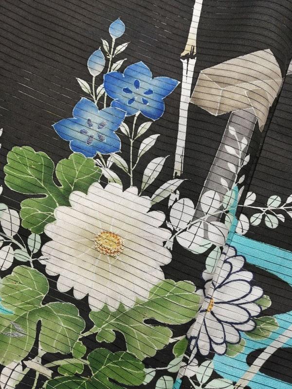 KG12114 きものさらさ アンティーク 黒留袖 絽 大正ロマン 正絹 リメイク 材料 菊 桔梗 夏着物 フォーマル_画像9