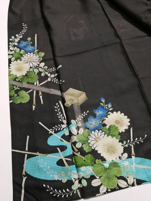 KG12114 きものさらさ アンティーク 黒留袖 絽 大正ロマン 正絹 リメイク 材料 菊 桔梗 夏着物 フォーマル_画像5