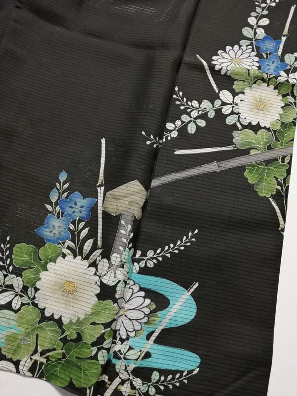 KG12114 きものさらさ アンティーク 黒留袖 絽 大正ロマン 正絹 リメイク 材料 菊 桔梗 夏着物 フォーマル_画像8