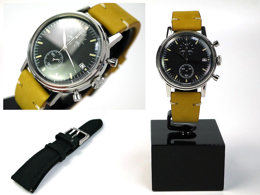 ■本物保証■アンダーン■クロノグラフ 316L メンズ腕時計■替えベルト付■レザー■_画像1