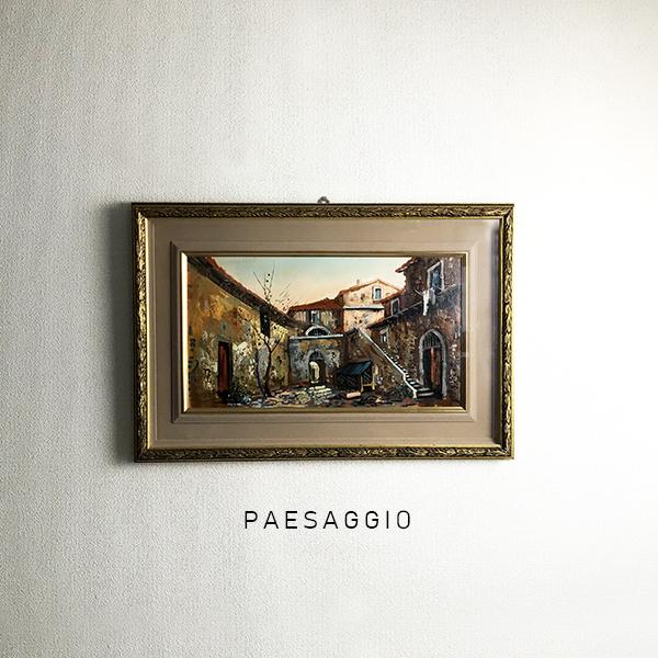g monti 作 『PAESAGGIO』 ヴィンテージ 額装 油絵 絵画 原画 肉筆 直筆 サイン 油彩 画 街並 風景画 額 付き 美術品 アート コレクション