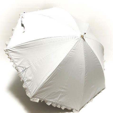 新品◆ランバン オンブルー 日傘◆1級遮光/遮熱/フワクール/晴雨兼用パラソル/長傘/レースフリル&リボン/アイスグレー n33_画像2