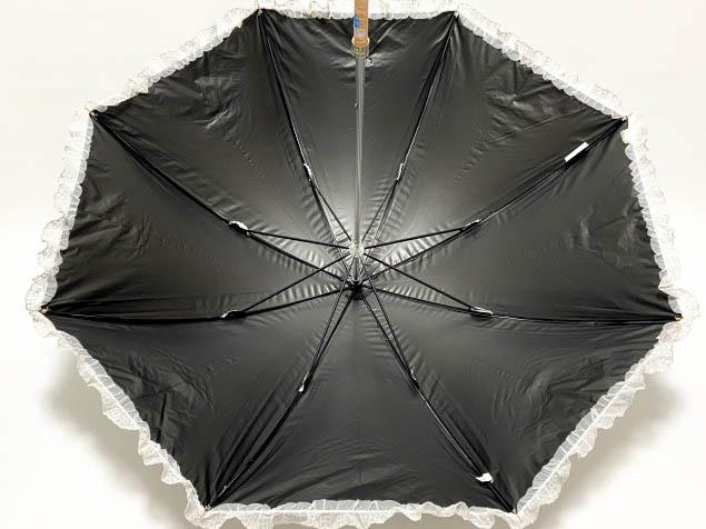 新品◆ランバン オンブルー 日傘◆1級遮光/遮熱/フワクール/晴雨兼用パラソル/長傘/レースフリル&リボン/アイスグレー n33_画像4