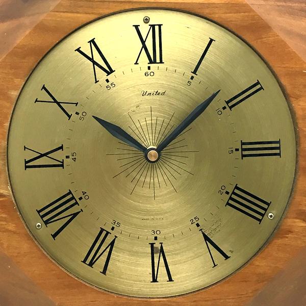 送料無料 アンティークウォールクロック UNITED/ヴィンテージ壁掛け時計アメリカ製usa製ミッドセンチュリー北欧昭和レトロオクタゴン八角形_画像3