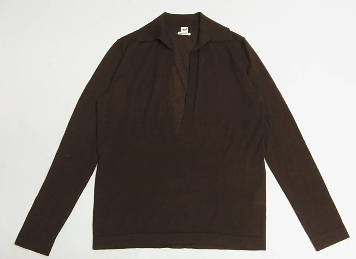 國內正規品 HERMES エルメス 名作 ヴァルーズ マルジェラ期 カシミヤ シルク ニット セーター 40 茶 イタリア製