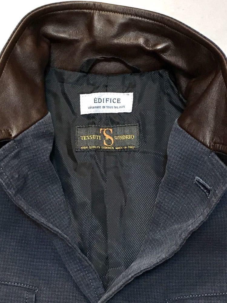 EDIFICE×TESSUTI DI SONDRIO 8分袖 コットンジャケット 38 牛革使用 細かい千鳥柄 ネイビー 起毛コットン_画像4