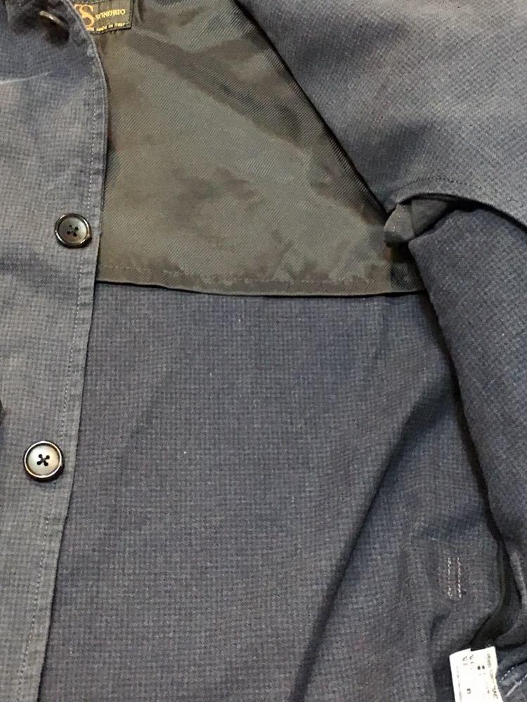 EDIFICE×TESSUTI DI SONDRIO 8分袖 コットンジャケット 38 牛革使用 細かい千鳥柄 ネイビー 起毛コットン_画像6