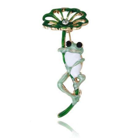 A0990 古典的な紫、緑カエル葉ブローチ 合金動物女性のパーティー宴会ブローチ 女子帽子スカーフアクセサリーギフト_画像3