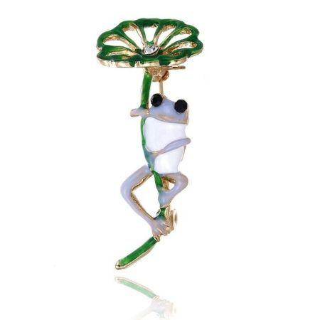 A0990 古典的な紫、緑カエル葉ブローチ 合金動物女性のパーティー宴会ブローチ 女子帽子スカーフアクセサリーギフト_画像2