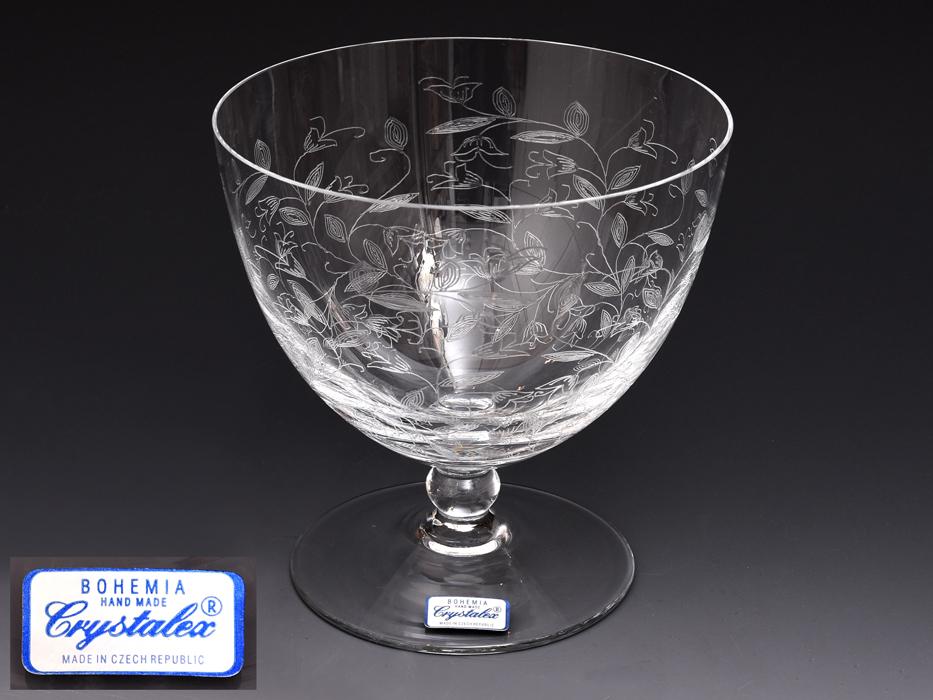 BOHEMIA Crystalea ボヘミア フラワーベース 草花図 クリスタルガラス チェコ ハンドカット 花瓶 花器 花生 西洋美術 ガラス工芸 b7528n_画像1