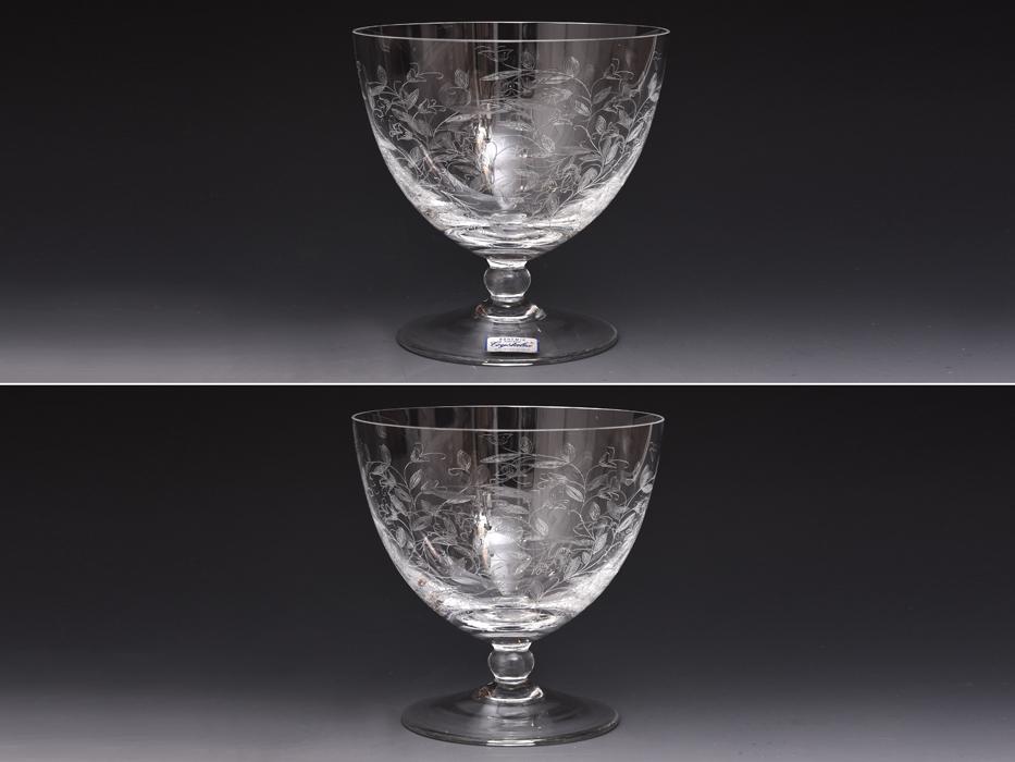 BOHEMIA Crystalea ボヘミア フラワーベース 草花図 クリスタルガラス チェコ ハンドカット 花瓶 花器 花生 西洋美術 ガラス工芸 b7528n_画像2