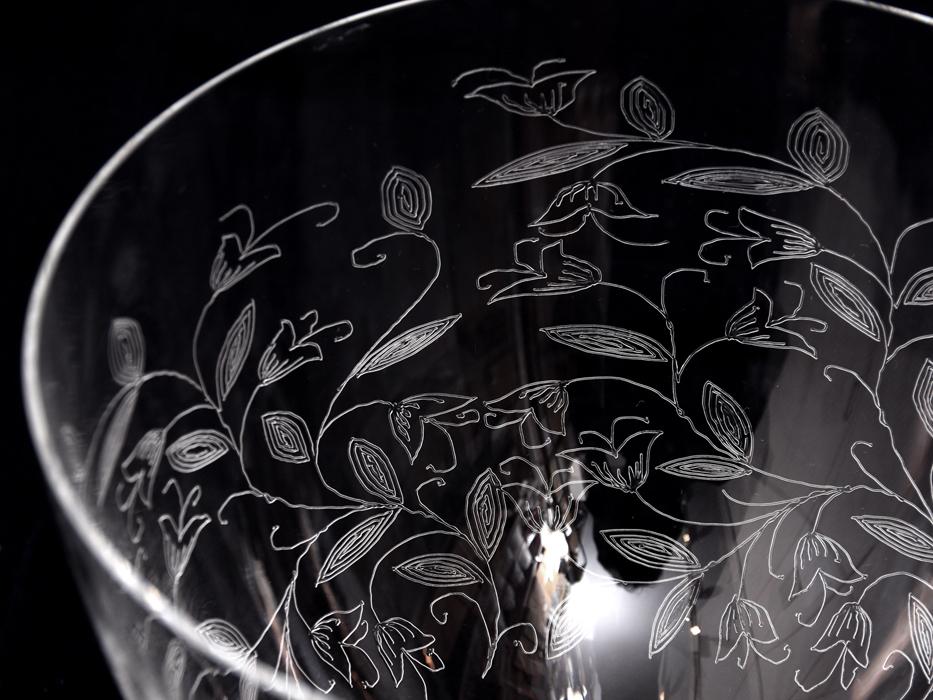 BOHEMIA Crystalea ボヘミア フラワーベース 草花図 クリスタルガラス チェコ ハンドカット 花瓶 花器 花生 西洋美術 ガラス工芸 b7528n_画像4