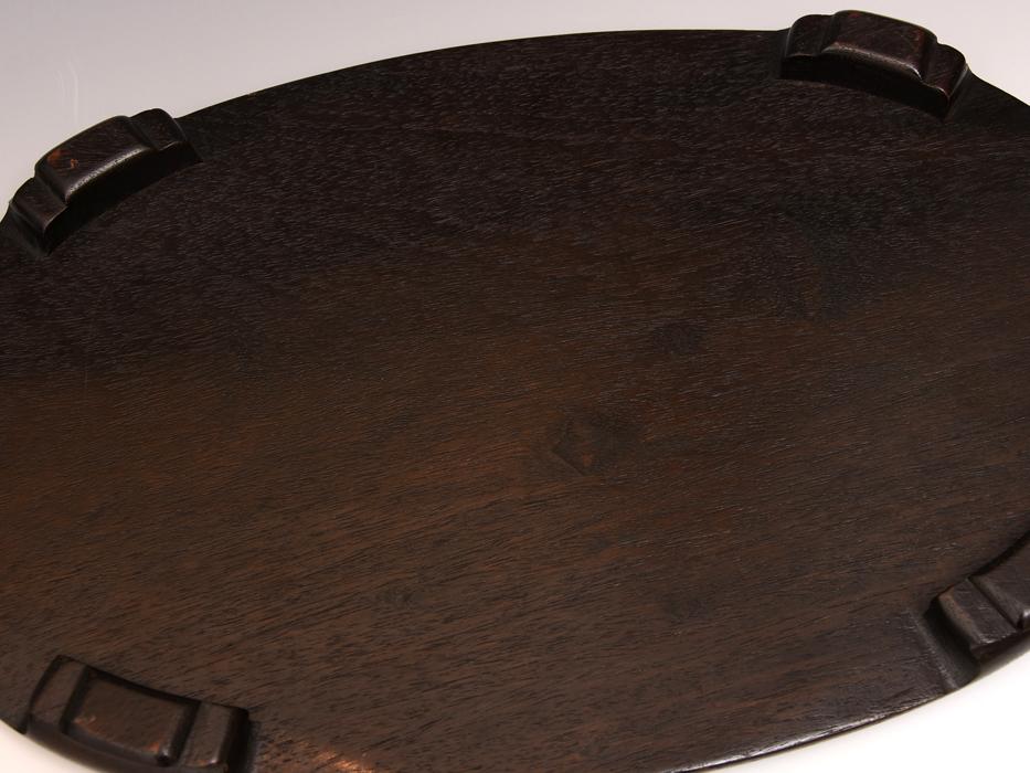天然木 唐木 花台 最大幅:36㎝ 楕円台 紫檀 香炉台 盆栽台 床置台 飾台 敷板 華道具 茶道具 木工芸  b7616s_画像6