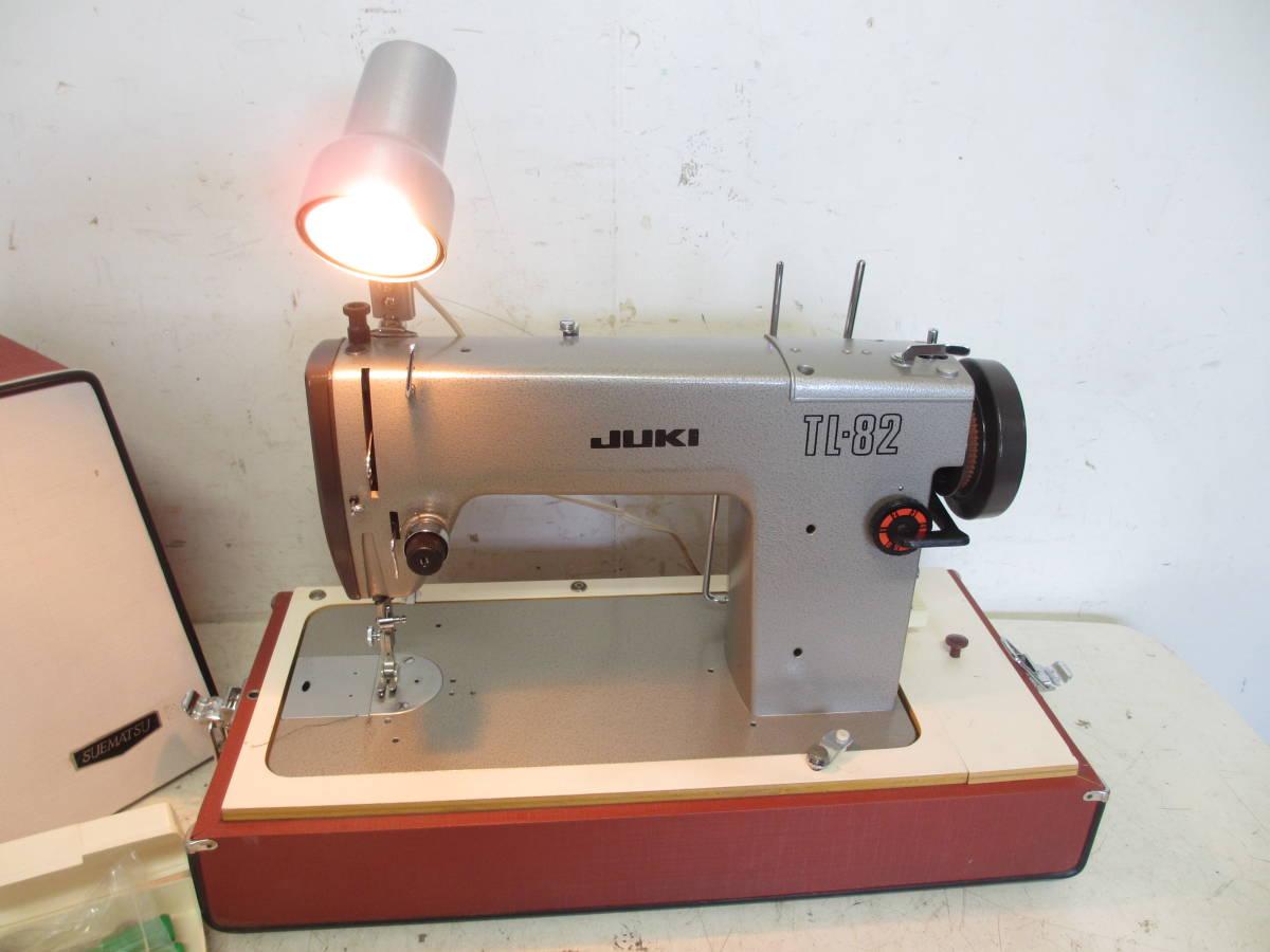 ※65 JUKI ジューキ 職業用 ミシン /アンティークミシン TL-82 直線縫い レザークラフト厚手デニム 現状品_画像2
