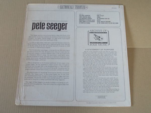 P5253 即決 LPレコード ピート・シーガー PETE SEEGER『ARCHIVE OF FOLK MUSIC』 輸入盤 US盤_画像2
