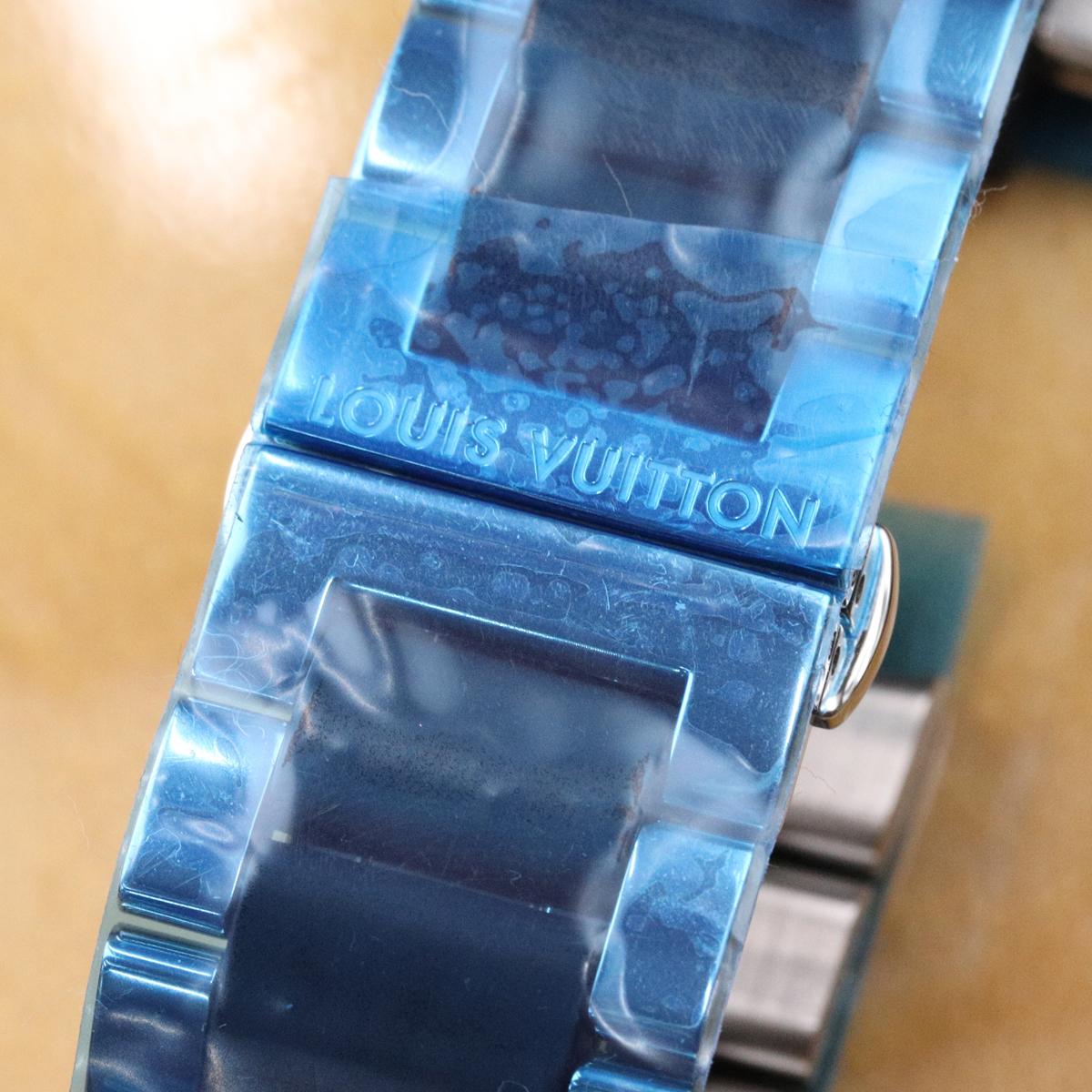 本物 新品仕上品 ルイヴィトン 絶盤 メンズ タンブール GM ステンレス ラバー コンビブレスレット 男性用腕時計 SSブレス ウォッチベルト_画像3