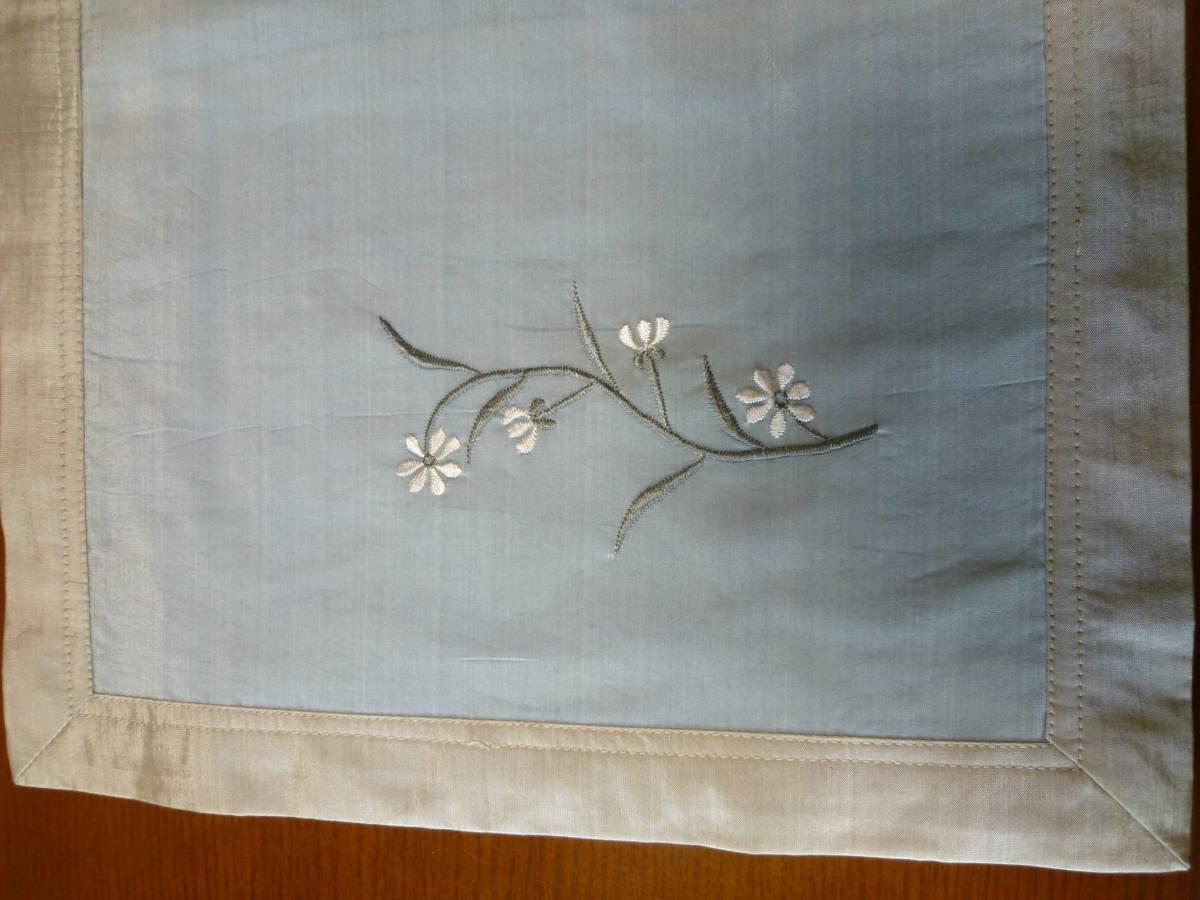 ランチョンマット SILK100% 4枚セット_花の刺繍