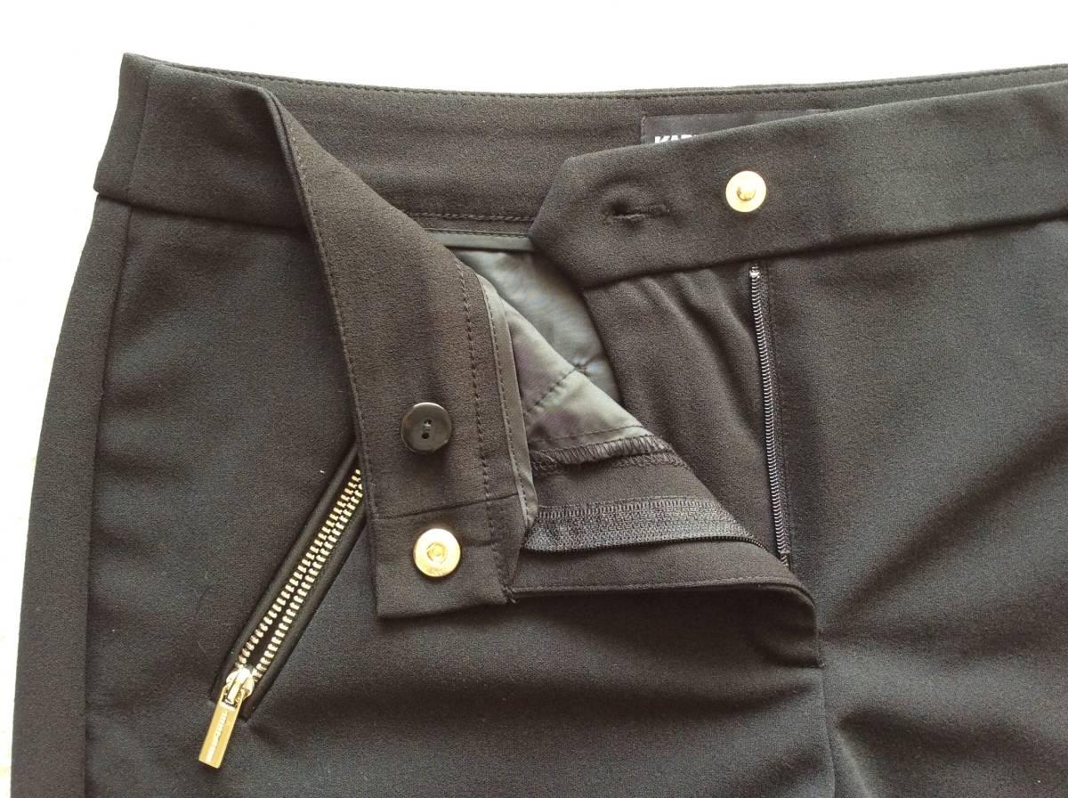Karl Lagerfeld Paris新品4♪Black太ももスッキリなストレッチスラックススリムパンツ_スナップボタン&ファスナー
