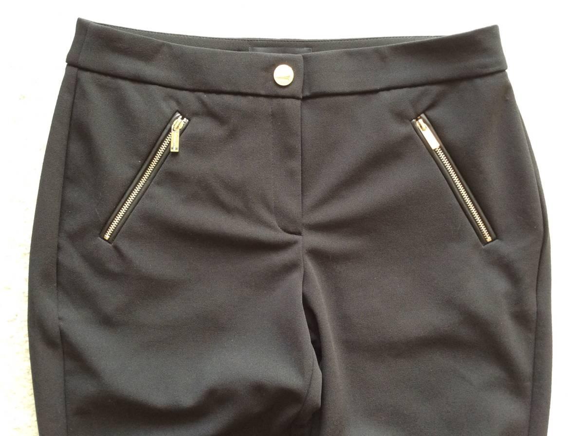 Karl Lagerfeld Paris新品12♪Black太ももスッキリなストレッチスラックススリムパンツ_股上は深めでウエストラインがちょうどお臍