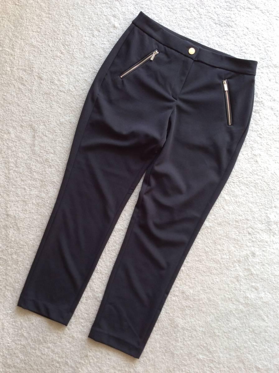 Karl Lagerfeld Paris新品12♪Black太ももスッキリなストレッチスラックススリムパンツ_黒のスリムラインの万能パンツ
