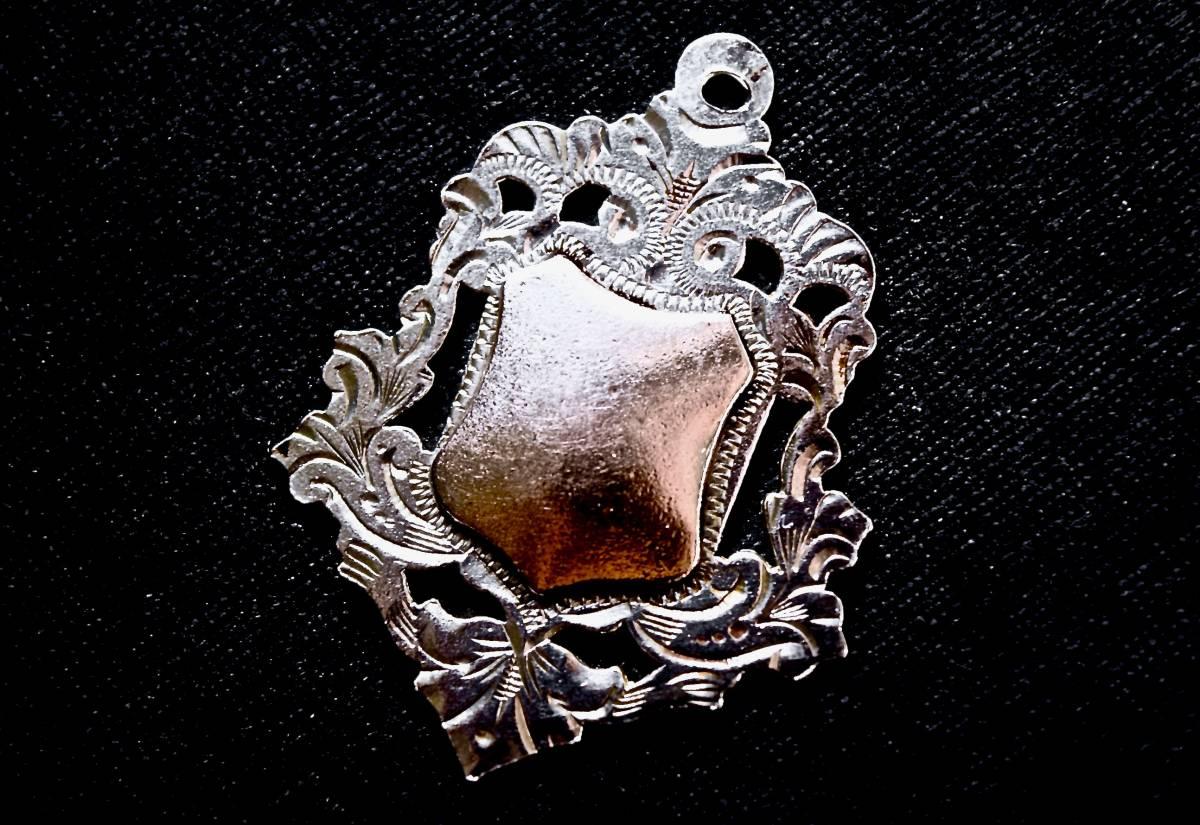 1931年 英国 盾紋章フォブ 純銀ギルトGOLD 全刻印 W.J.P製 稀美品 懐中時計 チェーン 鎖 シルバー銀 チャーム ペンダント アンティーク_画像1