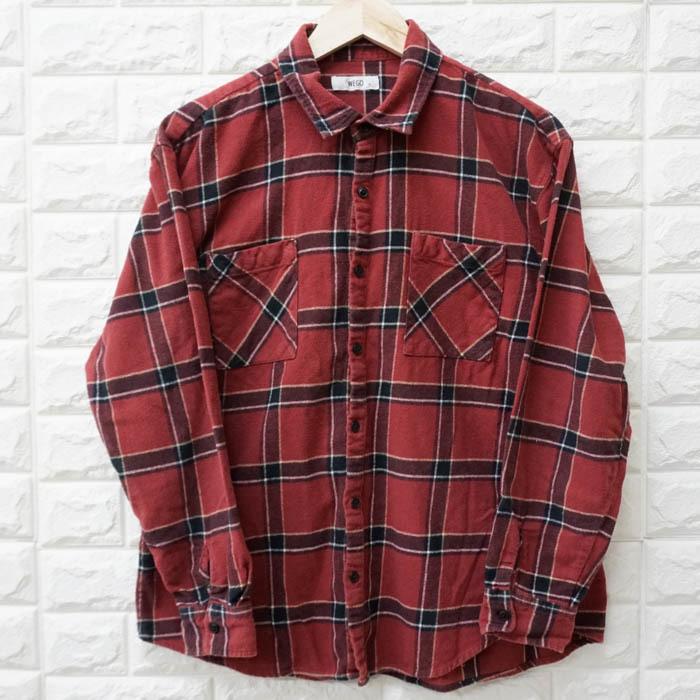 ウィゴー WEGO チェック ネルシャツ ビッグシャツ ボタンダウン 長袖シャツ チェック レッド メンズ Mサイズ