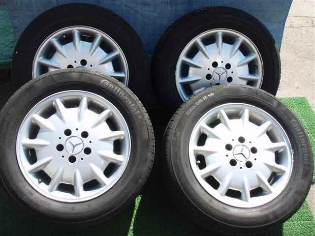 W210メルセデスベンツEクラス 純正16インチ アルミホイール PCD112 5穴 7.5J +41 タイヤ コンチネンタル 225/55R16 5分山 4本SET311130JJ_画像1