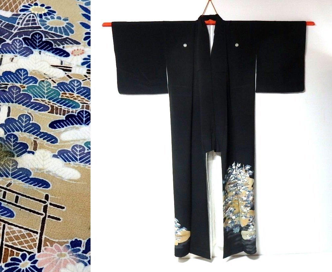【和服】桐家紋付き・風景に花柄・留め袖・袷着物・身丈約149㎝!_画像1