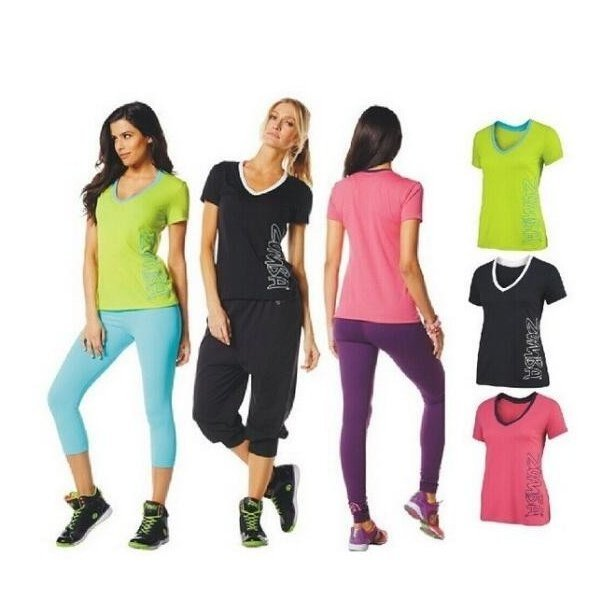ZUMBAウェア/ヨガフィットネスエアロダンスTシャツ 二色