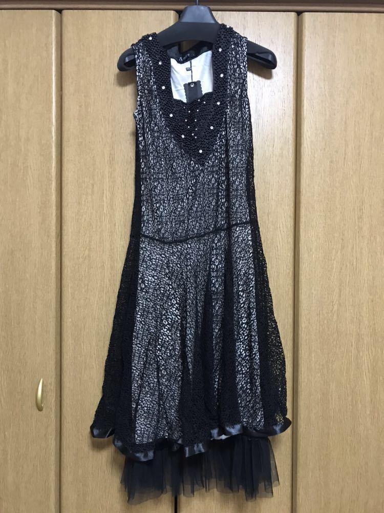 ワンピースフォーマルワンピース二次会結婚式ノースリーブ黒ビジューブラックドレス