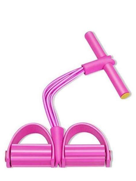 トレーニングチューブ シットアップ 腹筋エクササイズ トレーニング ペダルプラー 筋肉トレーニング ダイエット 筋トレ 4管 ピンク