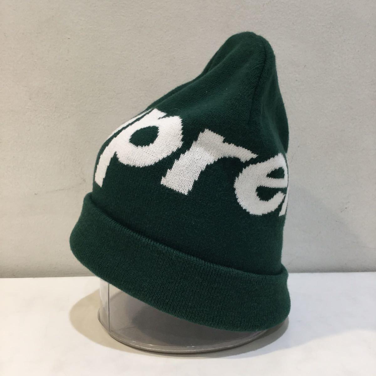 Supreme シュプリーム 2019A/W Big Logo Beanie ビッグロゴ ビーニー ニット帽 カシミヤ混 グリーン_画像2