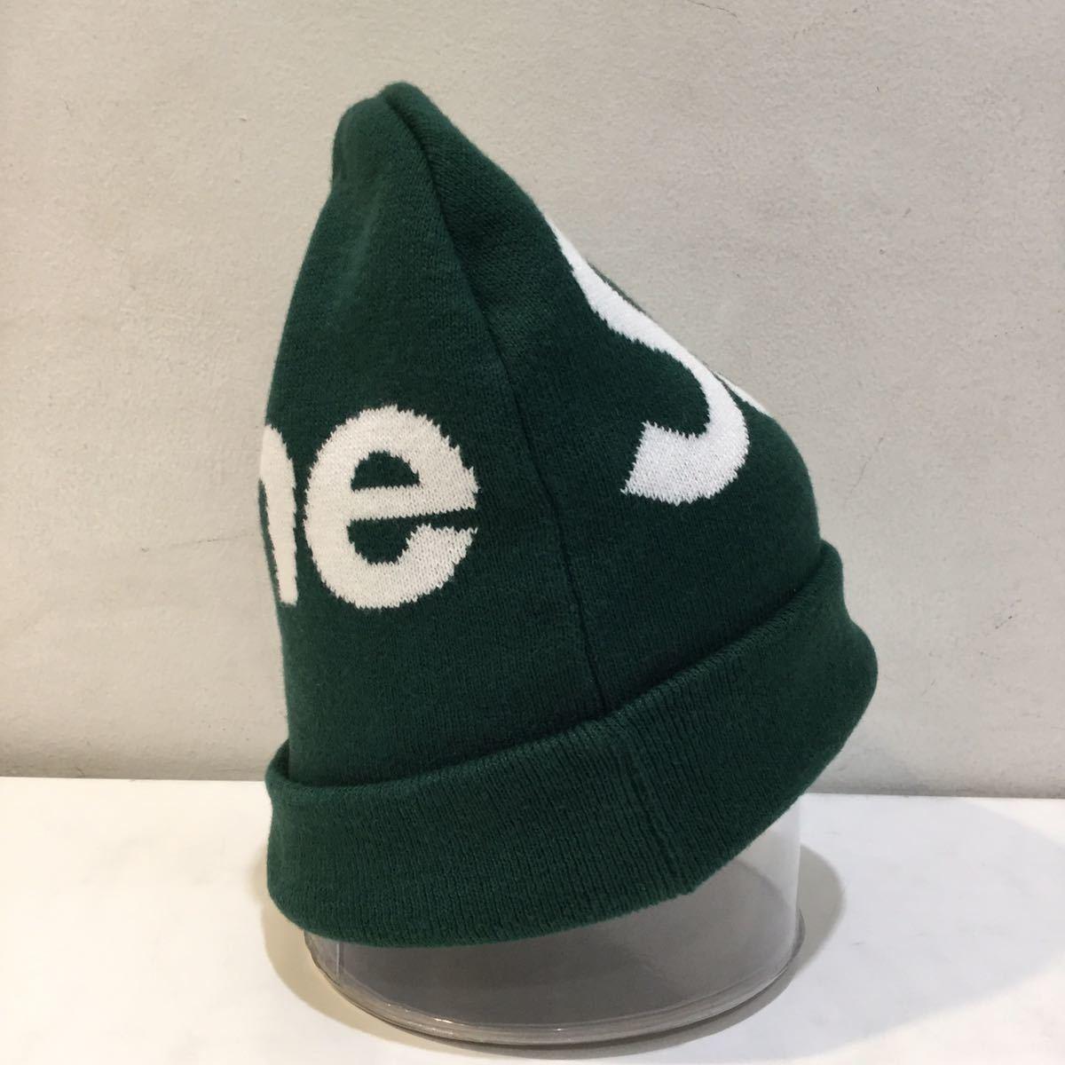 Supreme シュプリーム 2019A/W Big Logo Beanie ビッグロゴ ビーニー ニット帽 カシミヤ混 グリーン_画像4