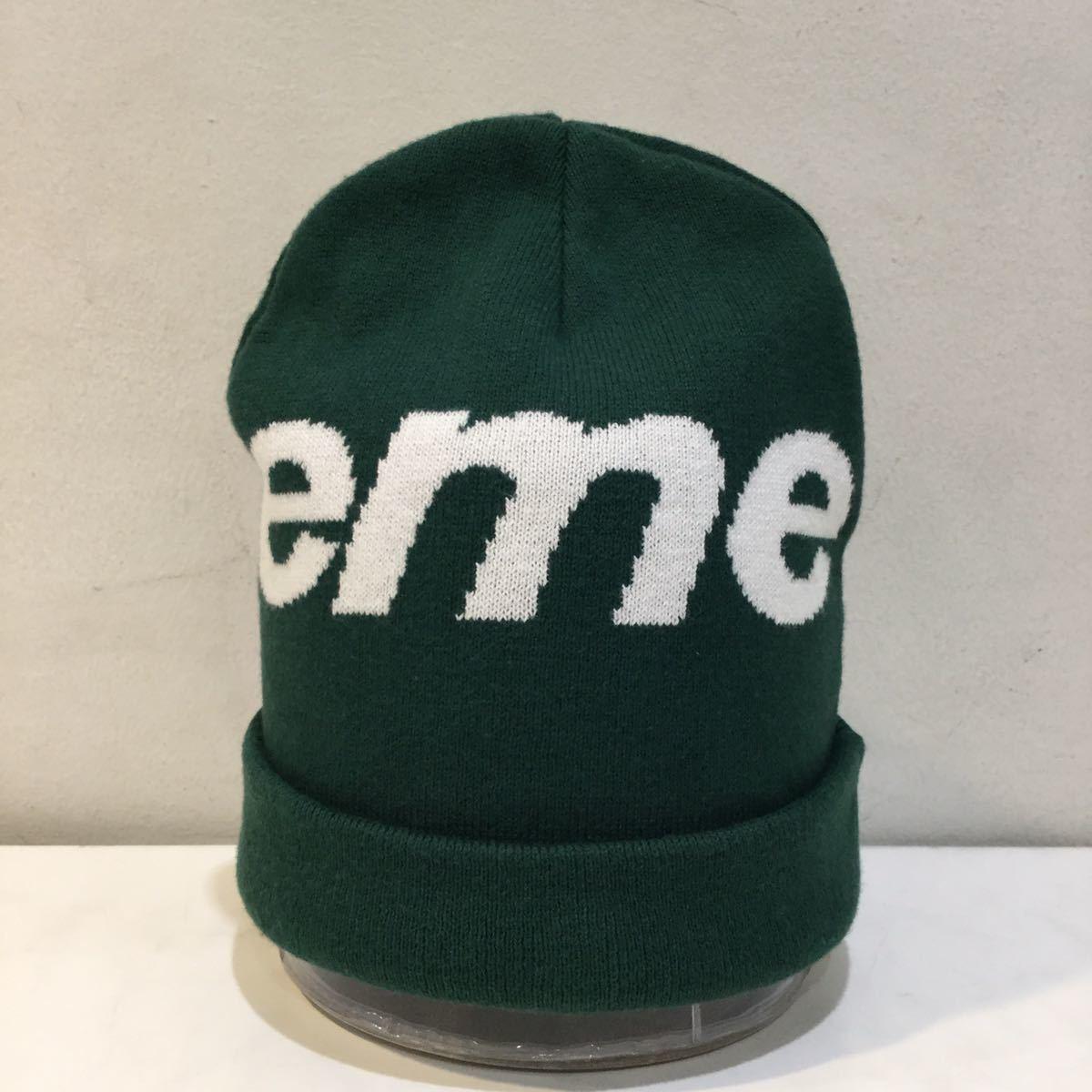 Supreme シュプリーム 2019A/W Big Logo Beanie ビッグロゴ ビーニー ニット帽 カシミヤ混 グリーン_画像3