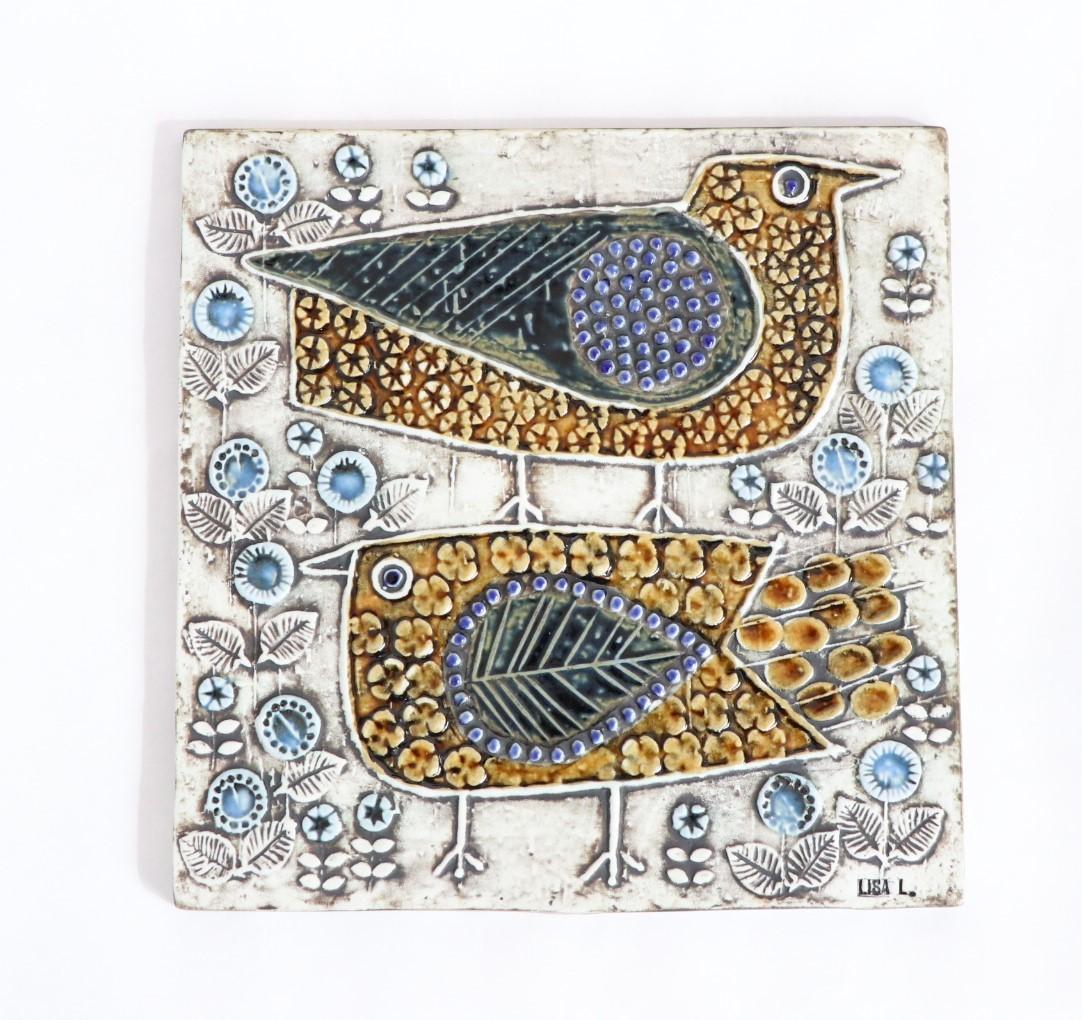 リサ ラーソン Lisa Larson UNIK 鳥 Faglar 陶版 北欧ヴィンテージ ①_画像1